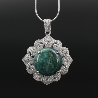 Sterling Silver Beryl and Sapphire Pendant Necklace