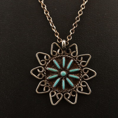 Sterling Signed Zuni Turquoise Pendant on Cable Chain
