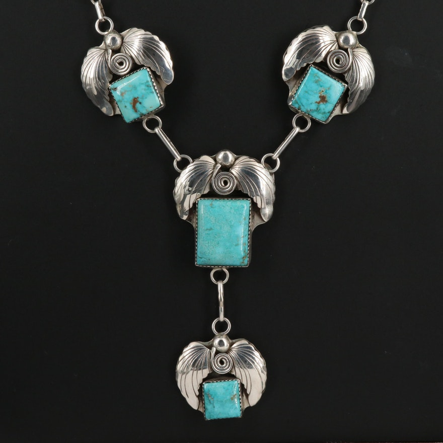 Vintage Augustine Largo Navajo Diné Sterling Silver and Turquoise Necklace