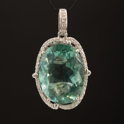 Sterling Silver Fluorite Pendant with White Spinel Accents