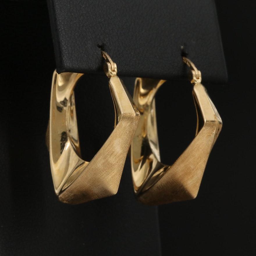 14K Geometric Hoop Earrings with Brushed Finish