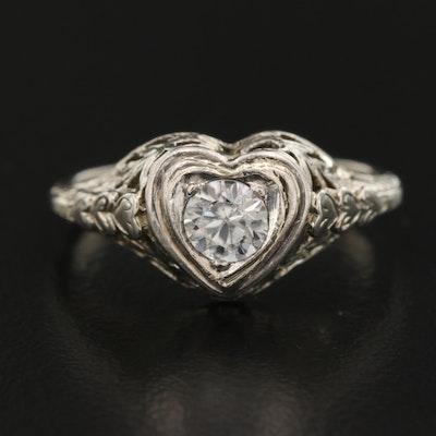 1930s 18K Zircon Heart Ring