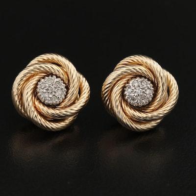 14K Diamond Knot Earrings