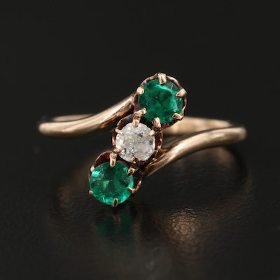Victorian 9K Diamond Bypass Ring with Glass Accents