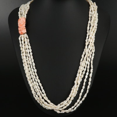 Carved Coral and Multi-Strand Pearl Necklace