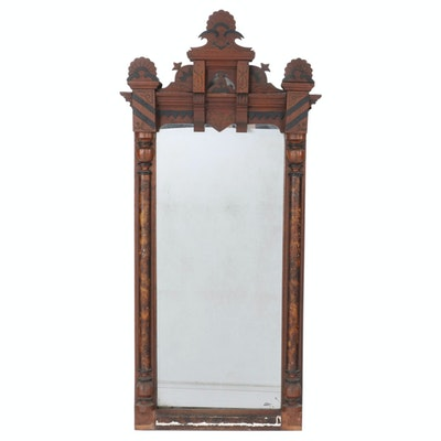 Victorian Walnut, Parcel-Ebonized, and Faux Tortoiseshell-Painted Pier Mirror