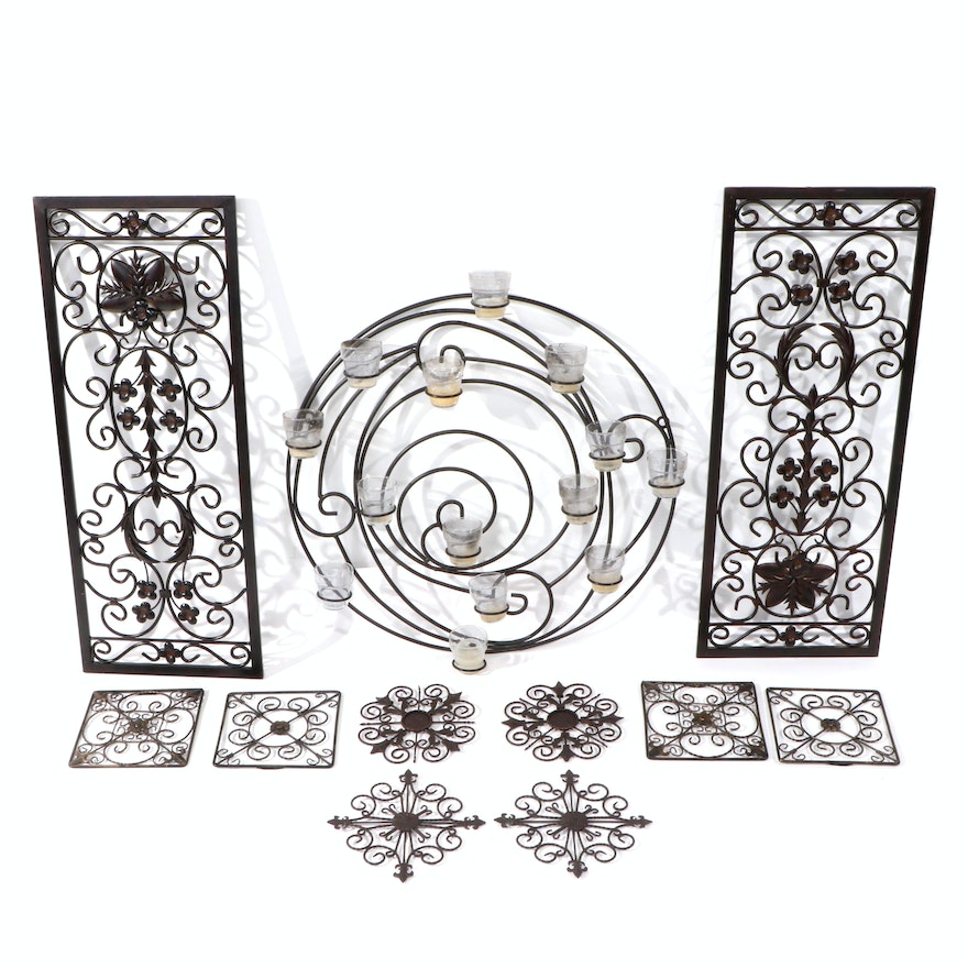 Decorative Metal Panels and Candle Holder