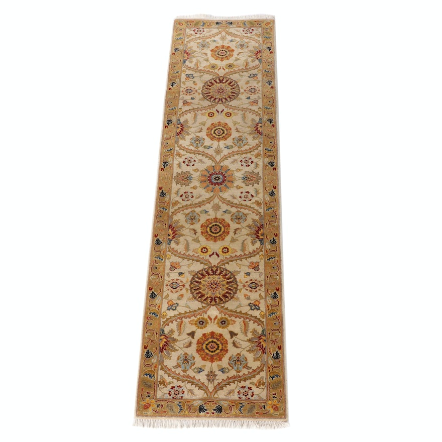 2'7 x 10'6 Hand-Knotted Floral Wool Carpet Runner