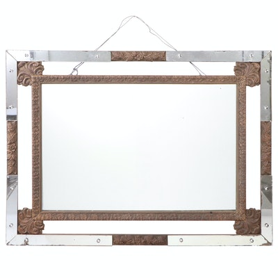 Wood and Mirrored Glass Decorated Framed Wall Mirror