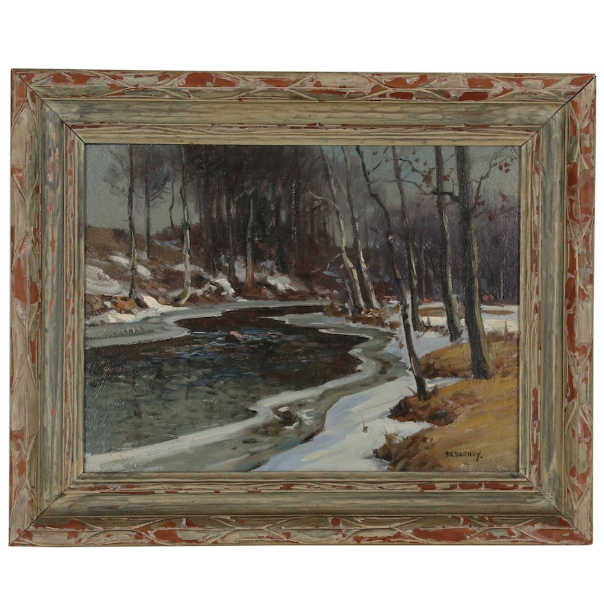 Frank A. Barney Forest Landscape in Winter Oil Painting, Early 20th Century