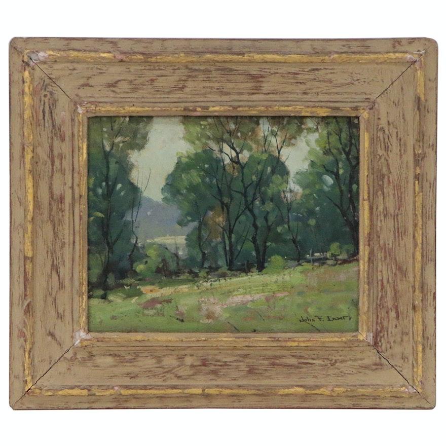 """John F. Enser Landscape Oil Painting """"Summer Haze"""""""