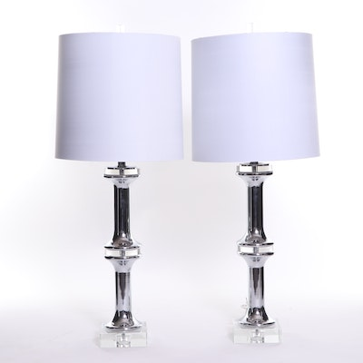 Chrome and Acrylic Table Lamps with Bright White Drum Shades