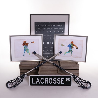 Lacrosse Bedroom Decor and Wooden Crate Storage Boxes
