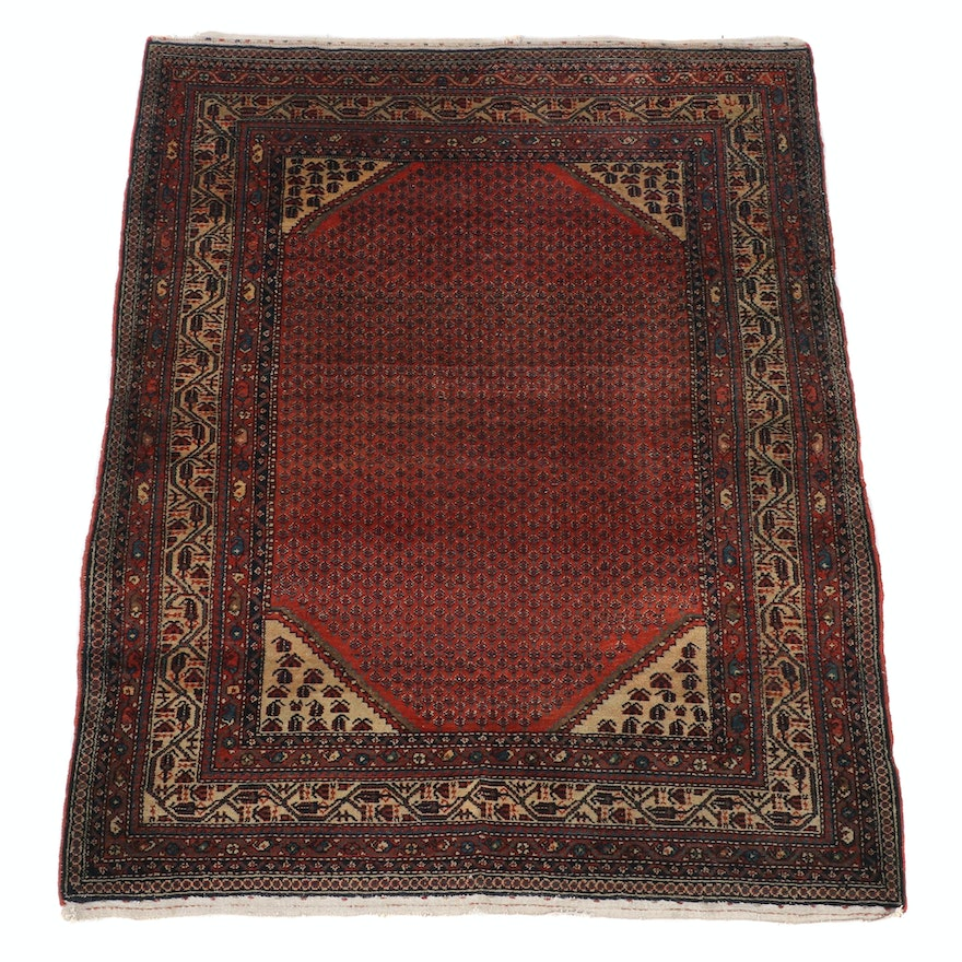 4'6 x 6'0 Hand-Knotted Persian Mir Serabend Wool Rug