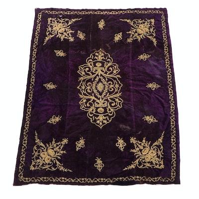 Ottoman Style Turkish Goldwork Embroidered Velvet Textile, Early 20th Century