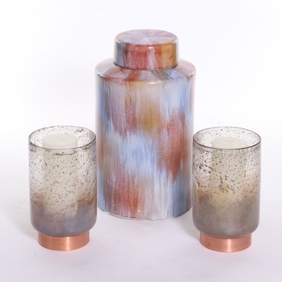 Ceramic Canister and Glass and Copper Candle Holders, Contemporary