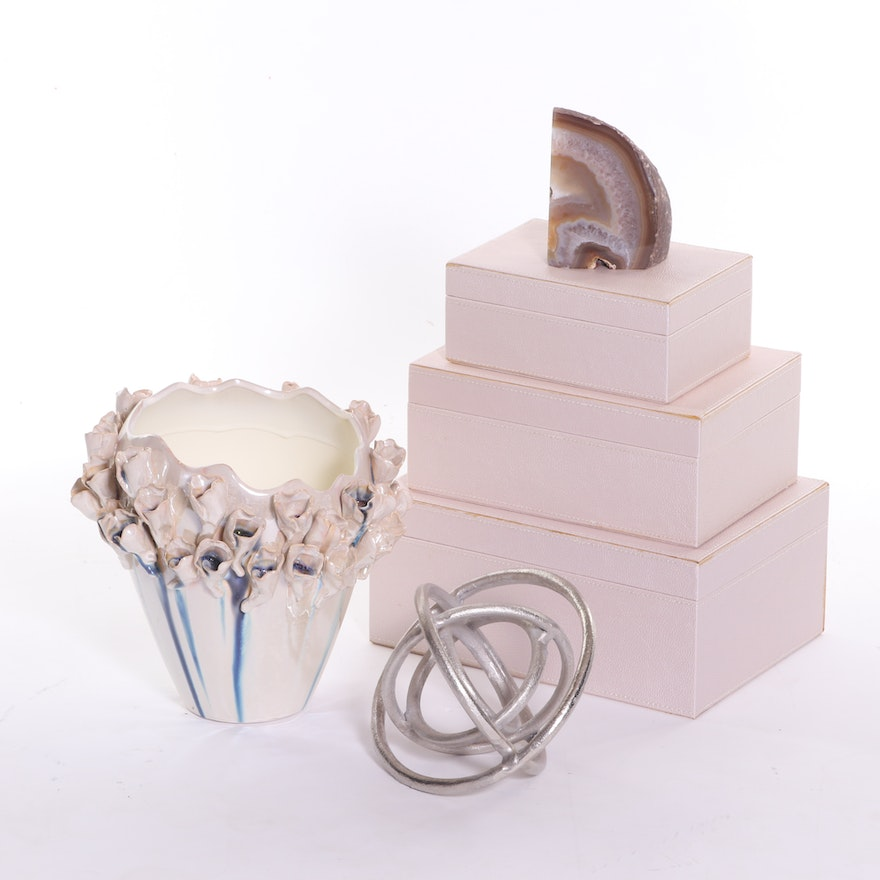Graduated Pale Pink Storage Boxes and Other Decorative Items, Contemporary