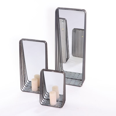 Metal Rectangular Mirrored Wall Shelves, Contemporary