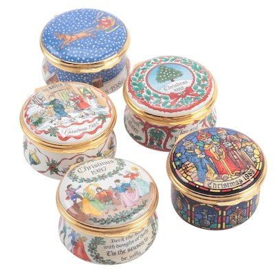 Halcyon Days Enamel Christmas Trinket Boxes, 1980s