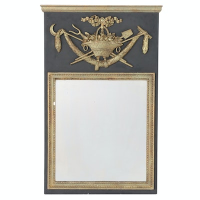 Louis XVI Partial Gilt Trumeau Mirror, Late 19th to Early 20th Century