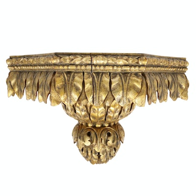 Neoclassical Style Gilt Wood Decorative Wall Corbel Shelf