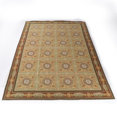 11'3 x 15'9 Handwoven Aubusson Style Floral Room Sized Wool Rug