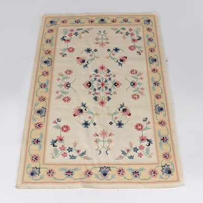 5'10 x 9'1 Handwoven Floral Wool Rug