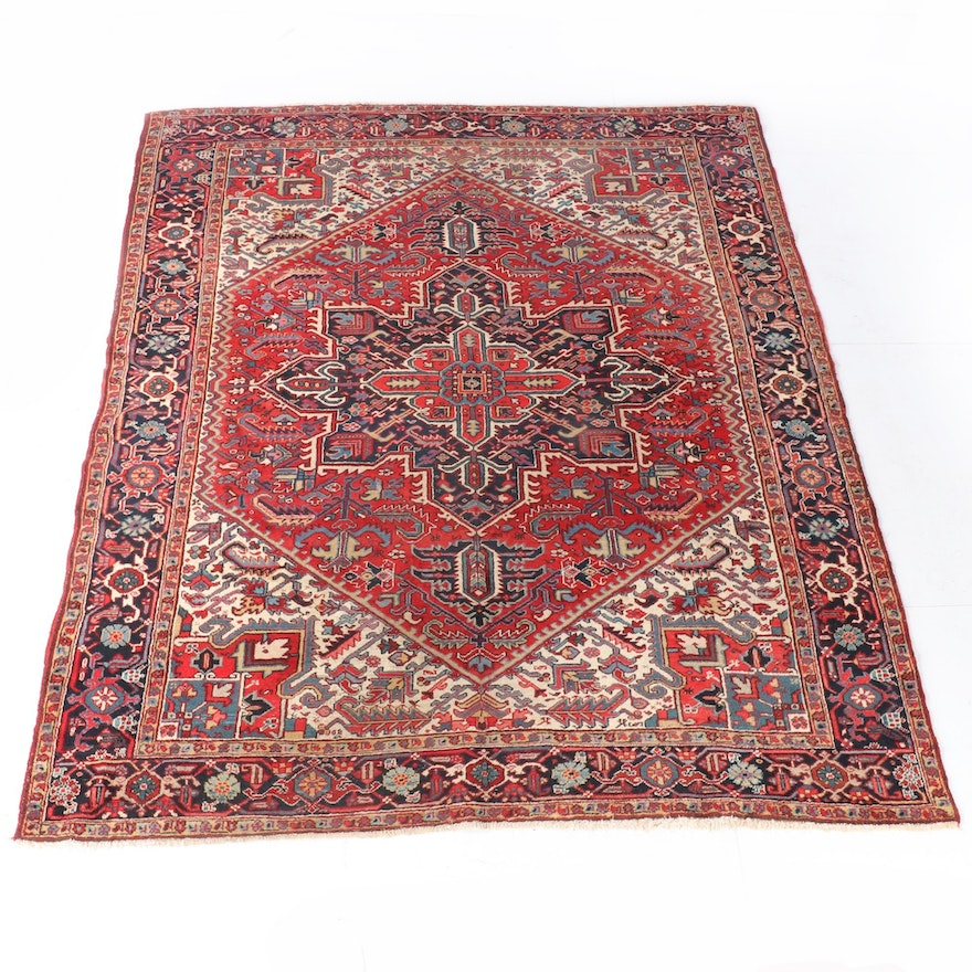 8'11 x 11'9 Hand-Knotted Persian Heriz Wool Rug