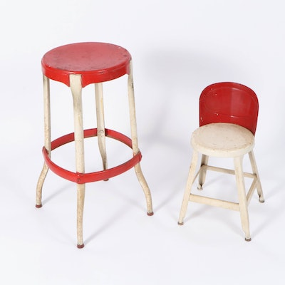Red and White Metal Stool and Child's Chair, Mid-20th Century