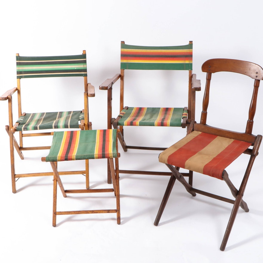 Striped Fabric Folding Chairs