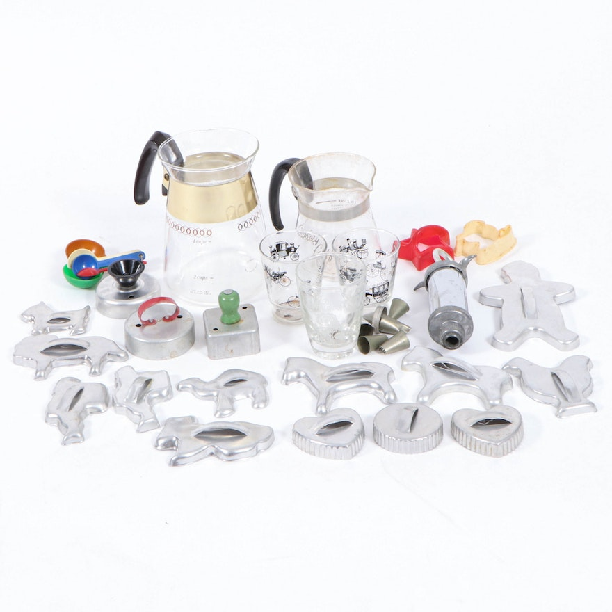 Glass Carafes, Glasses, Cookie Cutters and Other Kitchenware