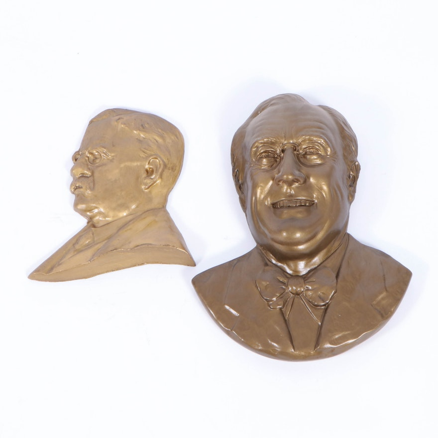 Presidential Chalkware Bust Reliefs Including Theodore Roosevelt