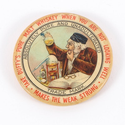 Whitehead and Hoag Duffy's Malt Whiskey Pocket Mirror, Early 20th Century