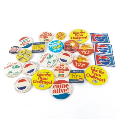 Pepsi and Mountain Dew Pinbacks and Patches, Late 20th Century