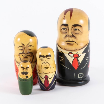 Soviet Union Leaders Hand-Painted Nesting Doll, Late 20th Century