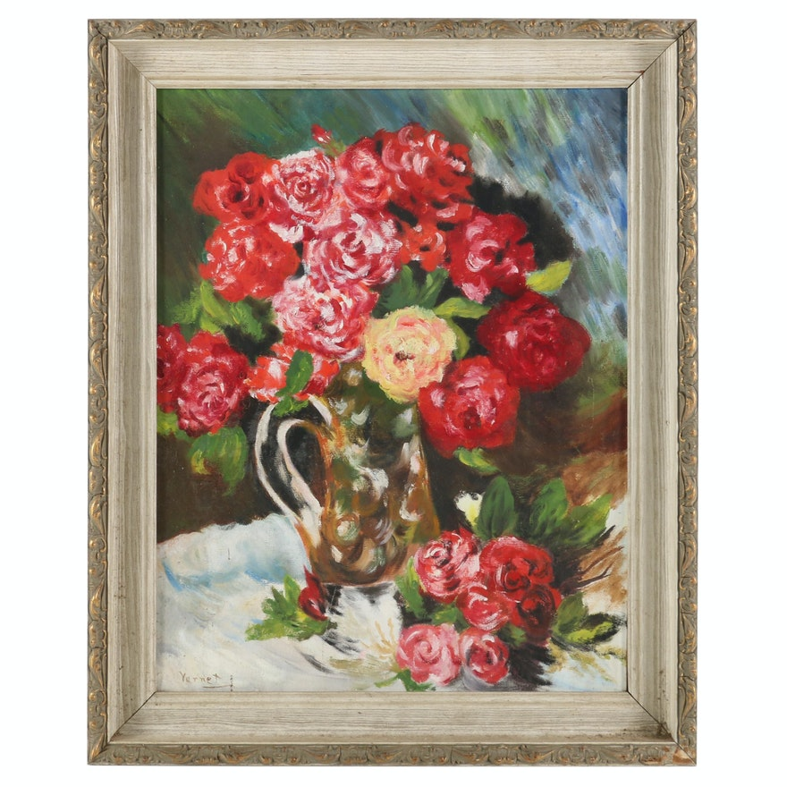 Still Life of Flowers in Pitcher Oil Painting, Early to Mid 20th Century