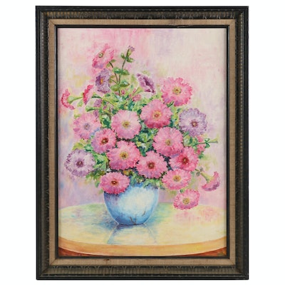 Still Life of Pink and Purple Flowers Oil Painting, 1960