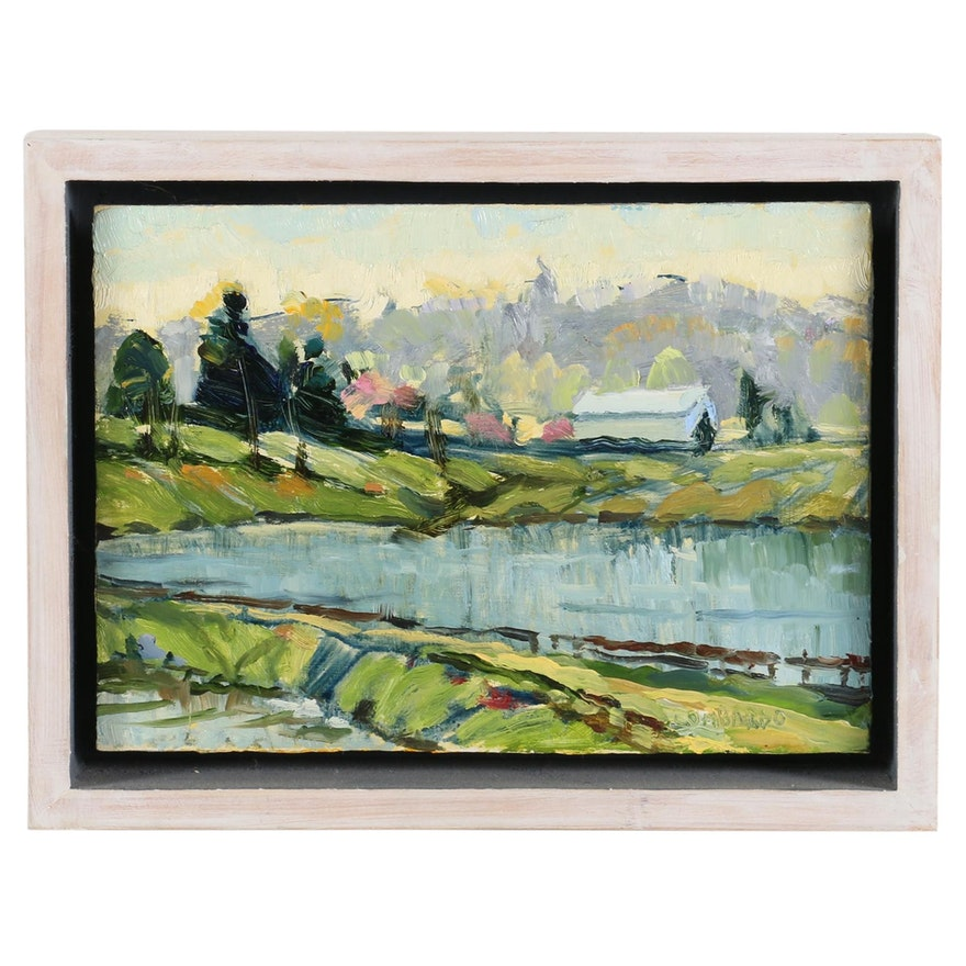 "Joe Lombardo Oil Painting ""Darby Bend Lakes"", 2010"