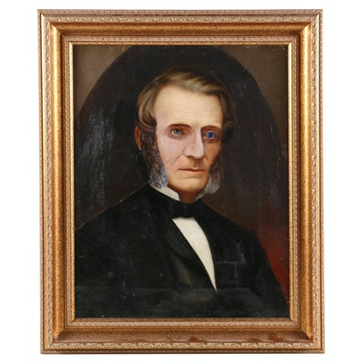 American School Oil Portrait of Gentelman, Late 19th to Early 20th Century