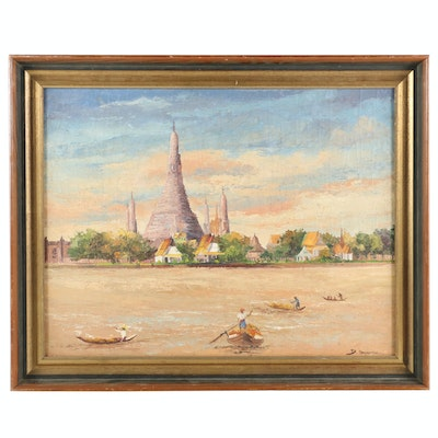 Impressionist Style Oil Painting of Chao Praya River Scene Featuring Wat Prayoon