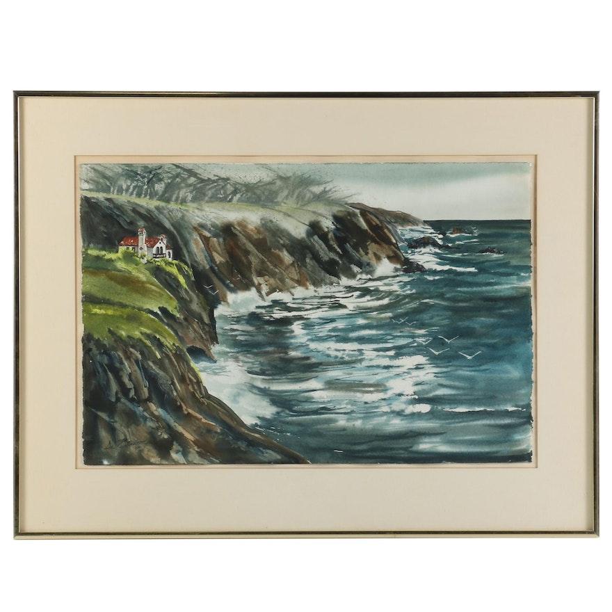 "Deanna de Chauron Watercolor Painting ""Carmel Highland"", 1972"
