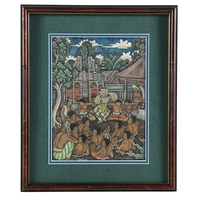 Balinese Gouache Painting of Village Ceremonial Dance Scene