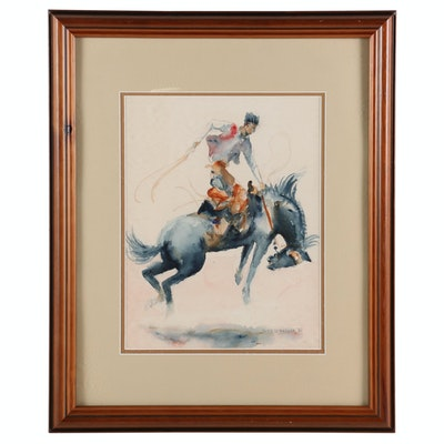 Rino Di Pasqua Watercolor Painting of Bronc Rider, 1982