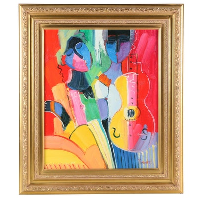 Fauvist Style Oil Painting Portrait of Couple with Guitar