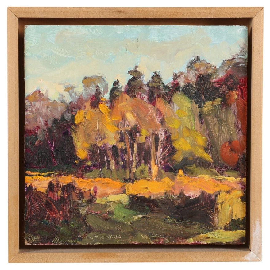 Joe Lombardo Oil Painting of Autumn Forest Clearing Scene