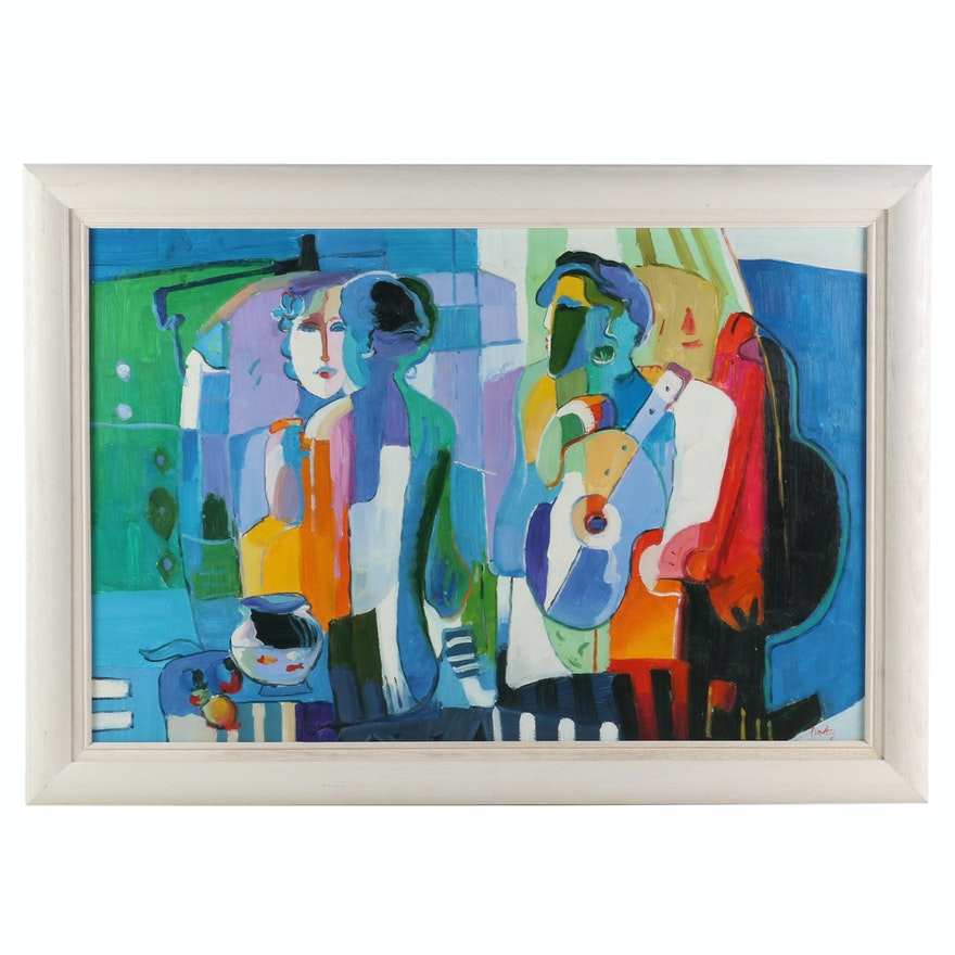 Fauvist Style Oil Painting of Couple with Guitar and Fish Bowl
