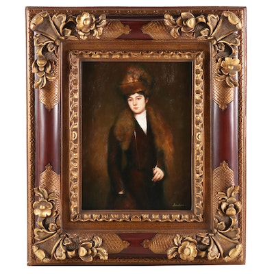 Portrait of Woman in Fur Stole and Hat Oil Painting