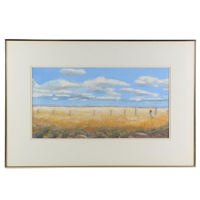 Sally and Walt Carlson Pastel Drawing of Grain Field with Young Girl, 1992