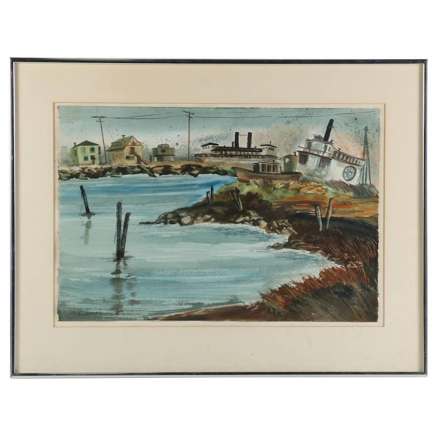 """Deanna de Chauron Watercolor Painting """"Sausalito Architects"""", 1972"""