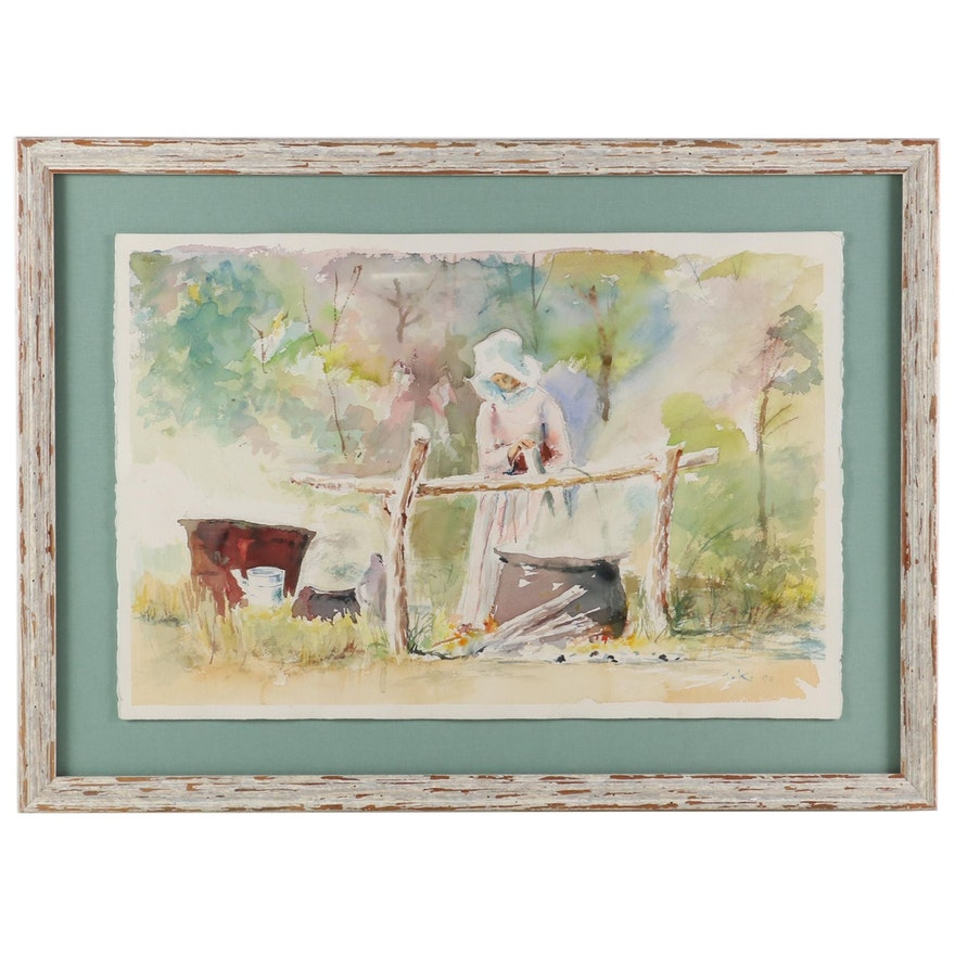T. K. Chau Watercolor Painting of Pioneer Cooking Fire Scene, 1993